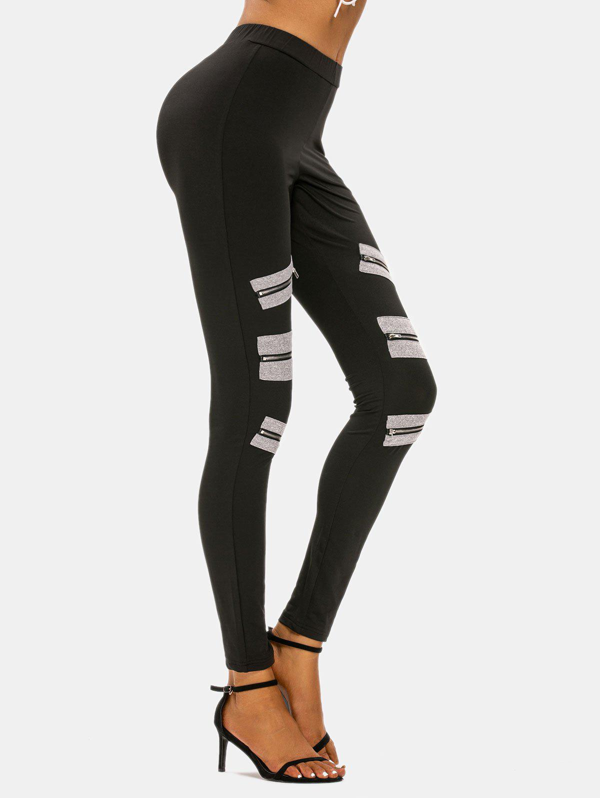 Cheap High Rise Zipper Detail Skinny Pants