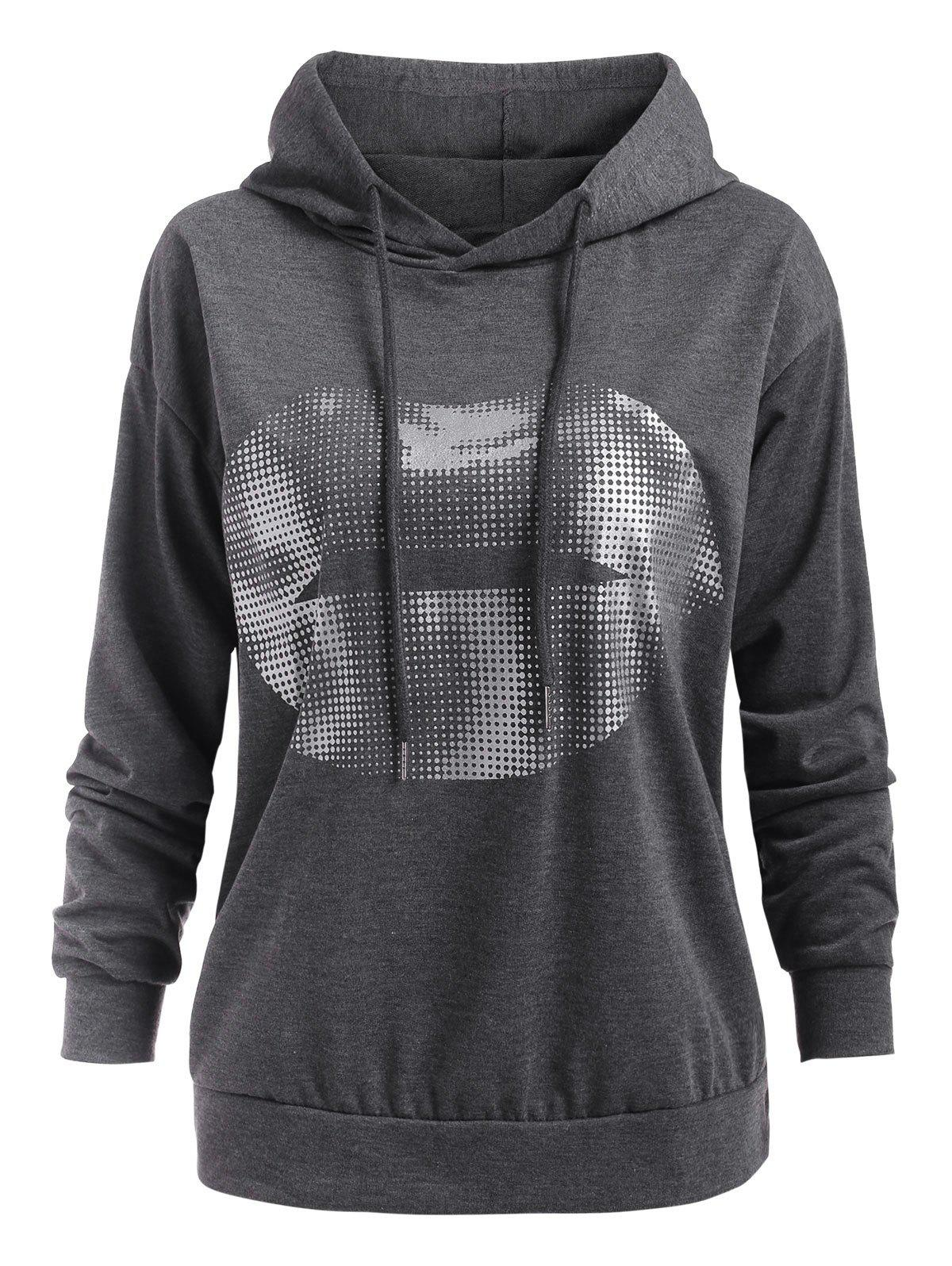 Fancy Foil Dot Lip Print Pullover Hoodie