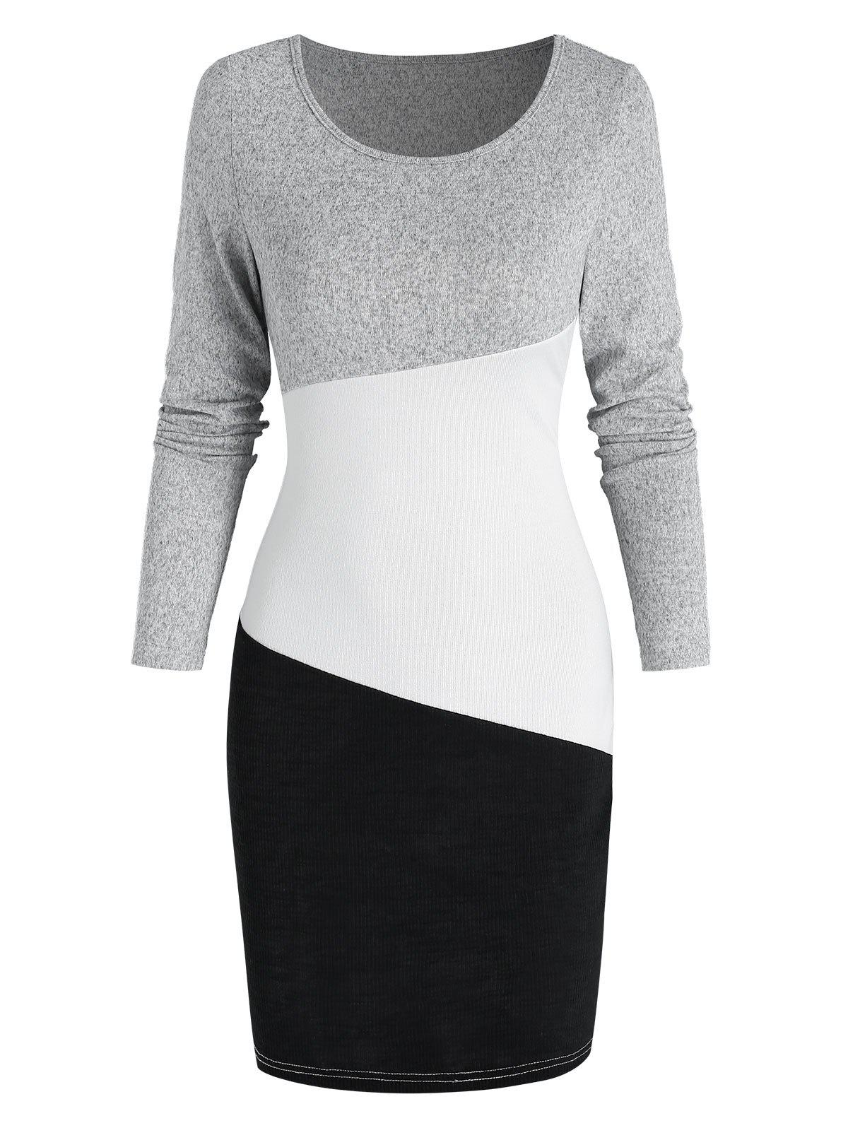 Buy Contrast Long Sleeve Sheath Sweater Dress