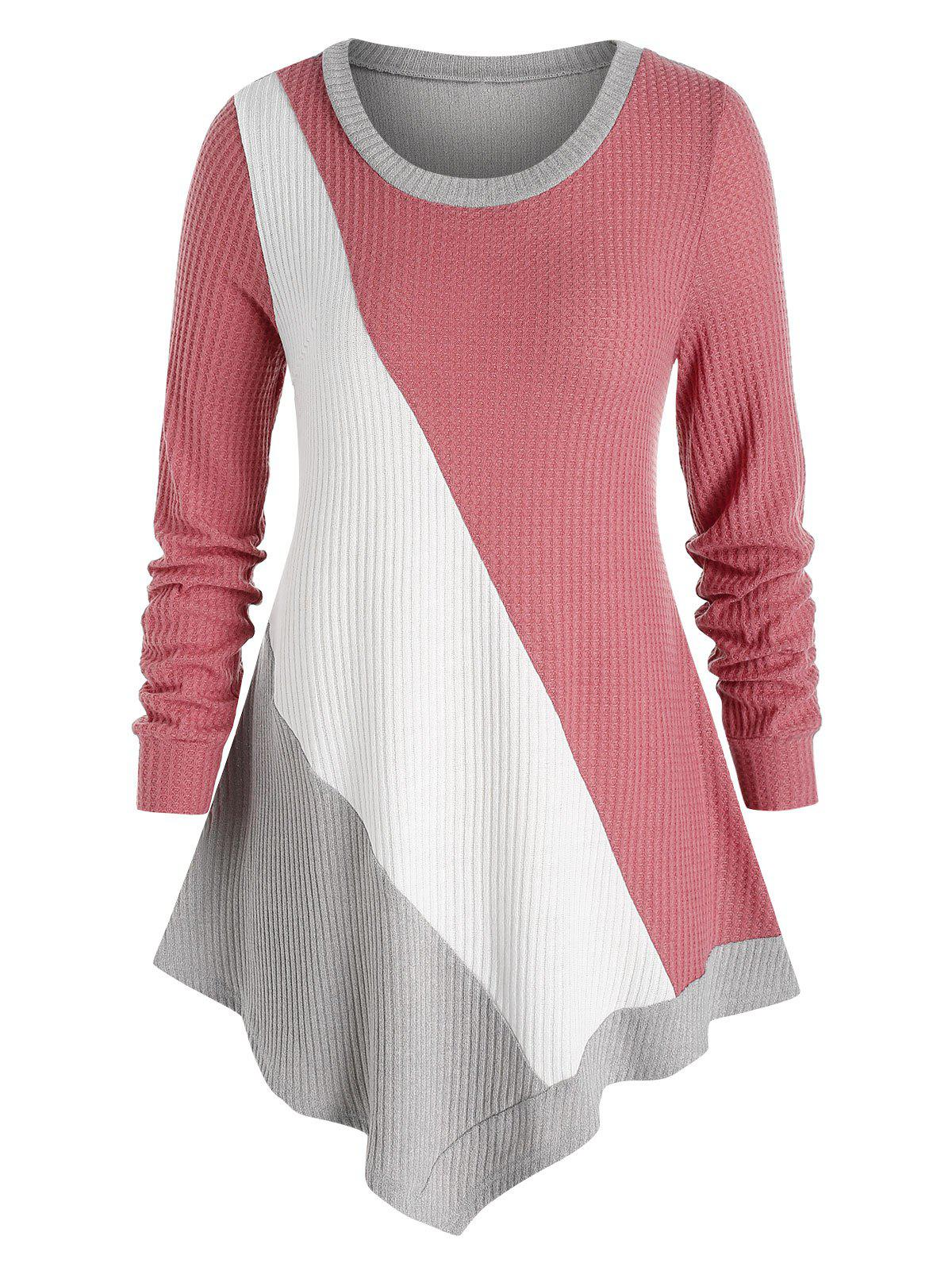 Online Plus Size Asymmetric Colorblock Knitted T Shirt