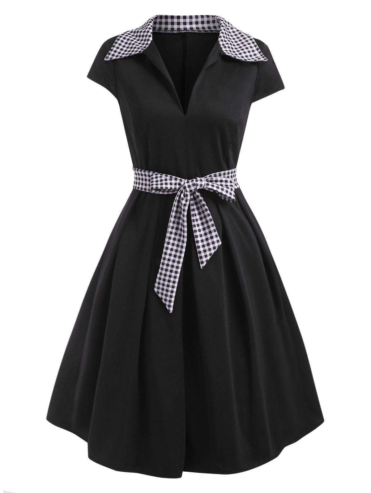 Outfit Gingham Cap Sleeve Belted A Line Retro Dress