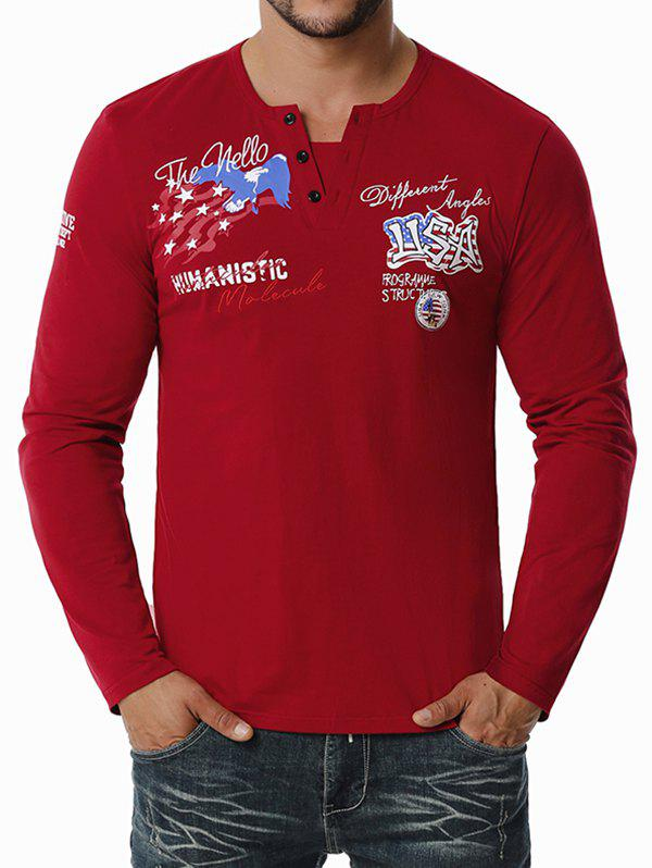 Outfit American Flag Letter Embroidered Henley T-shirt