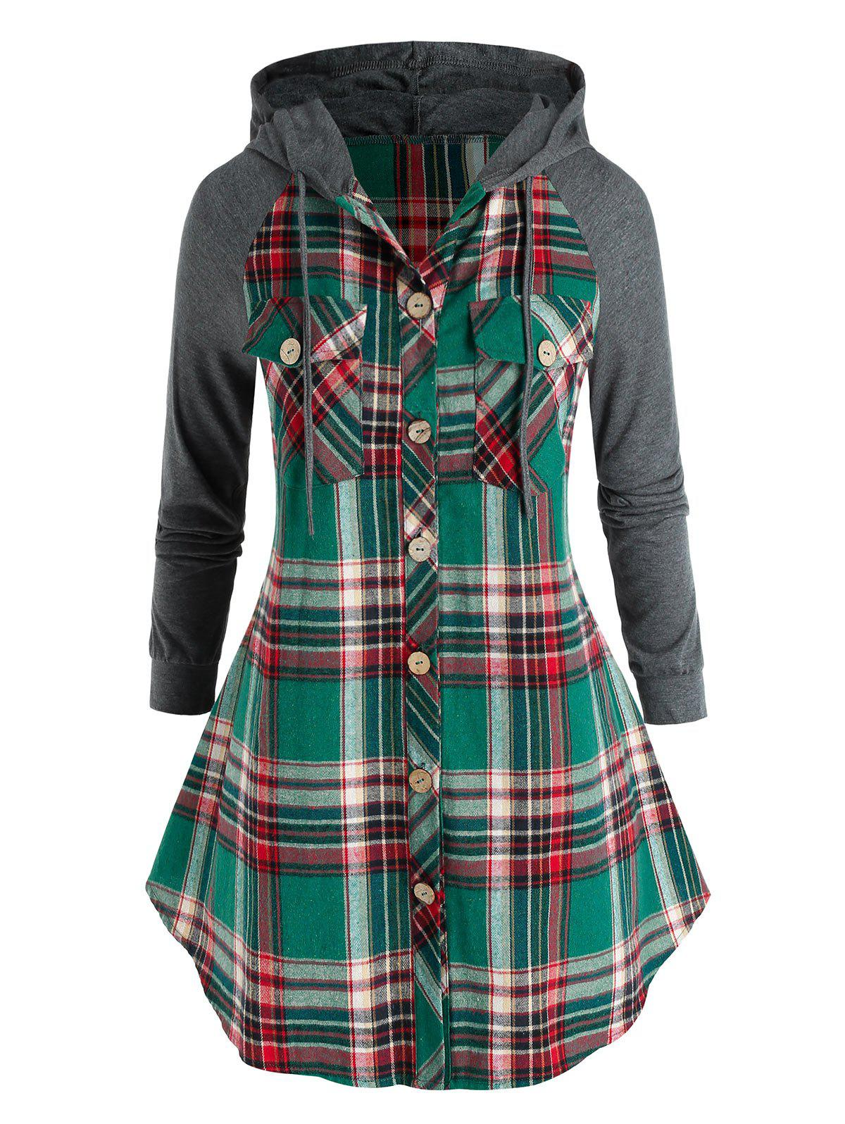 Trendy Plus Size Hooded Plaid Pocket Button Up Tunic Blouse