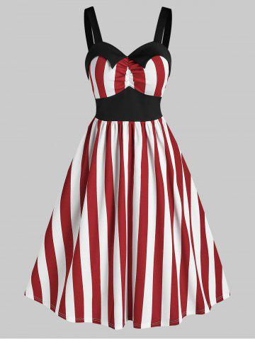 Sleeveless Striped Print Vintage Flare Dress - RED - 2XL