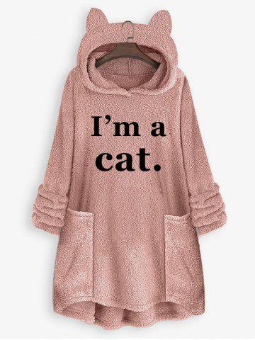 Plus Size Plush Cat Ear Letter Print High Low Hoodie - LIGHT PINK - 3XL