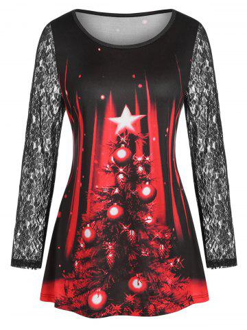 Plus Size Christmas Ball See Thru Lace Sleeve Tee - RED - 1X