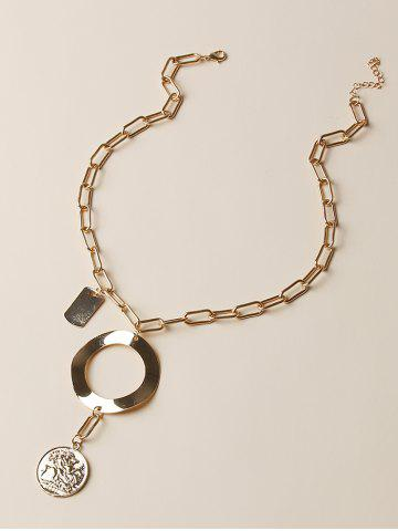 Coin Circle Pendant Thick Chain Necklace - GOLDEN