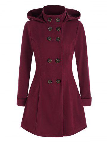 Hooded Double Breasted Wool Coat - RED WINE - 3XL