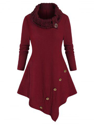Plus Size Asymmetrical Turtleneck Mock Button Tunic Sweater - RED WINE - 4X