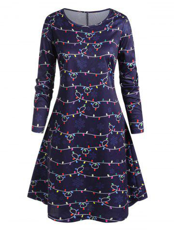 Plus Size String Lights and Snowflake Print Knee Length Dress - DEEP BLUE - 2X