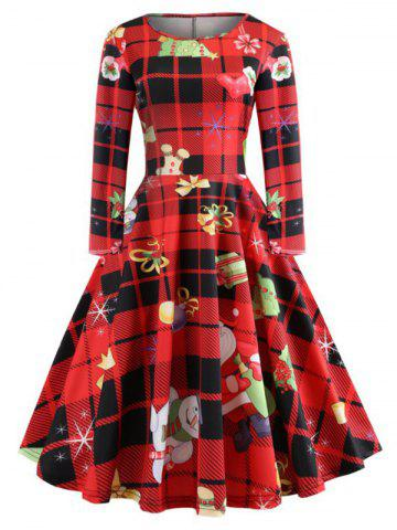 Christmas Tree Plaid Santa Claus Bells Plus Size Dress - RED - 4XL