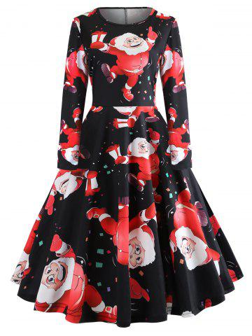 Christmas Tree Plaid Santa Claus Bells Plus Size Dress - BLACK - 4XL