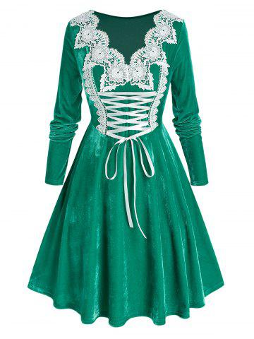Plus Size Velvet Lace-up Applique Panel Long Sleeve Dress - GREEN PEAS - 5X