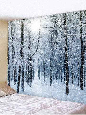 Snow Forest Printed Tapestry Wall Hanging Art Decoration - BLUE GRAY - W59 X L51 INCH