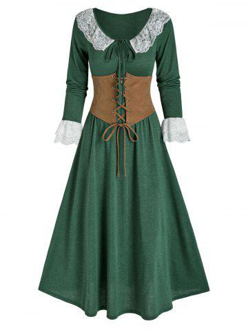 Lace Insert Bowknot Heathered Dress and Lace-up Corset - DEEP GREEN - L