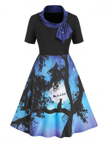 Plus Size Ombre Starry Cat Print Knotted Knee Length Dress - BLACK - 2X