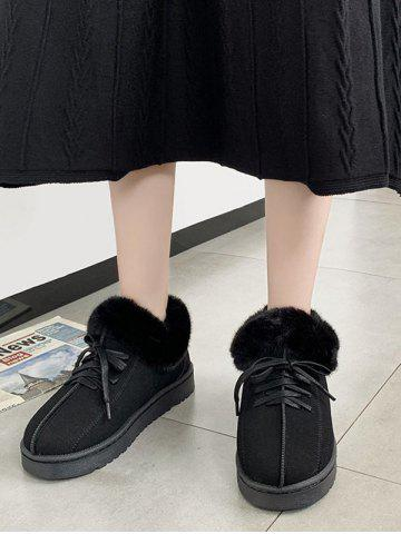 Lace Up Faux Fur Flat Snow Boots - BLACK - EU 40