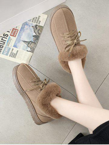 Lace Up Faux Fur Flat Snow Boots - BROWN - EU 40