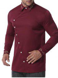 Button Up Lines Embroidered Shirt -