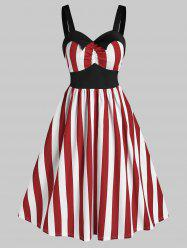 Sleeveless Striped Print Vintage Flare Dress -