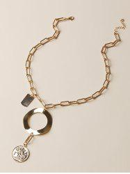 Coin Circle Pendant Thick Chain Necklace -