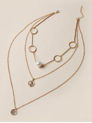 Coin Pendant Faux Pearl Layered Necklace -