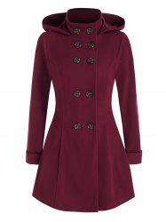 Hooded Double Breasted Wool Coat -