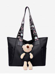 Plush Bear Floral Print Strap Tote Bag -