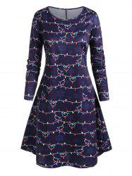 Plus Size String Lights and Snowflake Print Knee Length Dress -