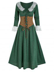 Lace Insert Bowknot Heathered Dress and Lace-up Corset -