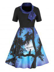 Plus Size Ombre Starry Cat Print Knotted Knee Length Dress -