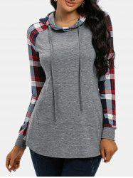 Plaid Print Panel Raglan Sleeve Pocket Hoodie -