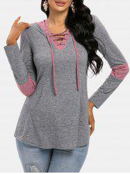 Colorblock Lace Up Hooded T Shirt -