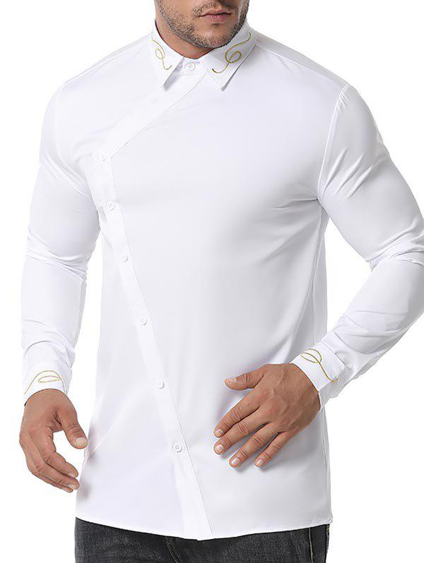 Fashion Button Up Lines Embroidered Shirt