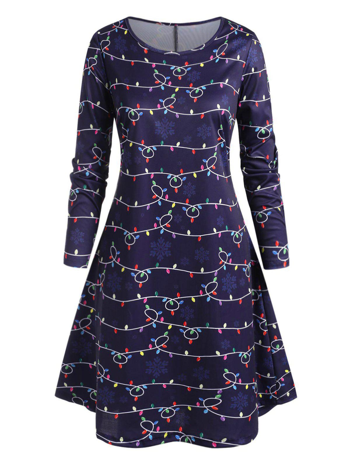 Shops Plus Size String Lights and Snowflake Print Knee Length Dress