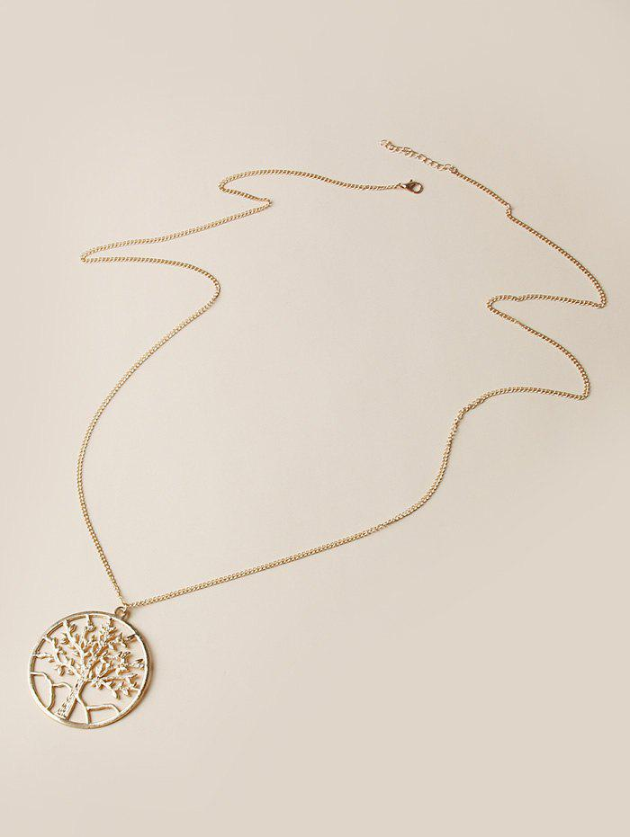 Trendy Hollow Out Tree Pendant Chain Necklace