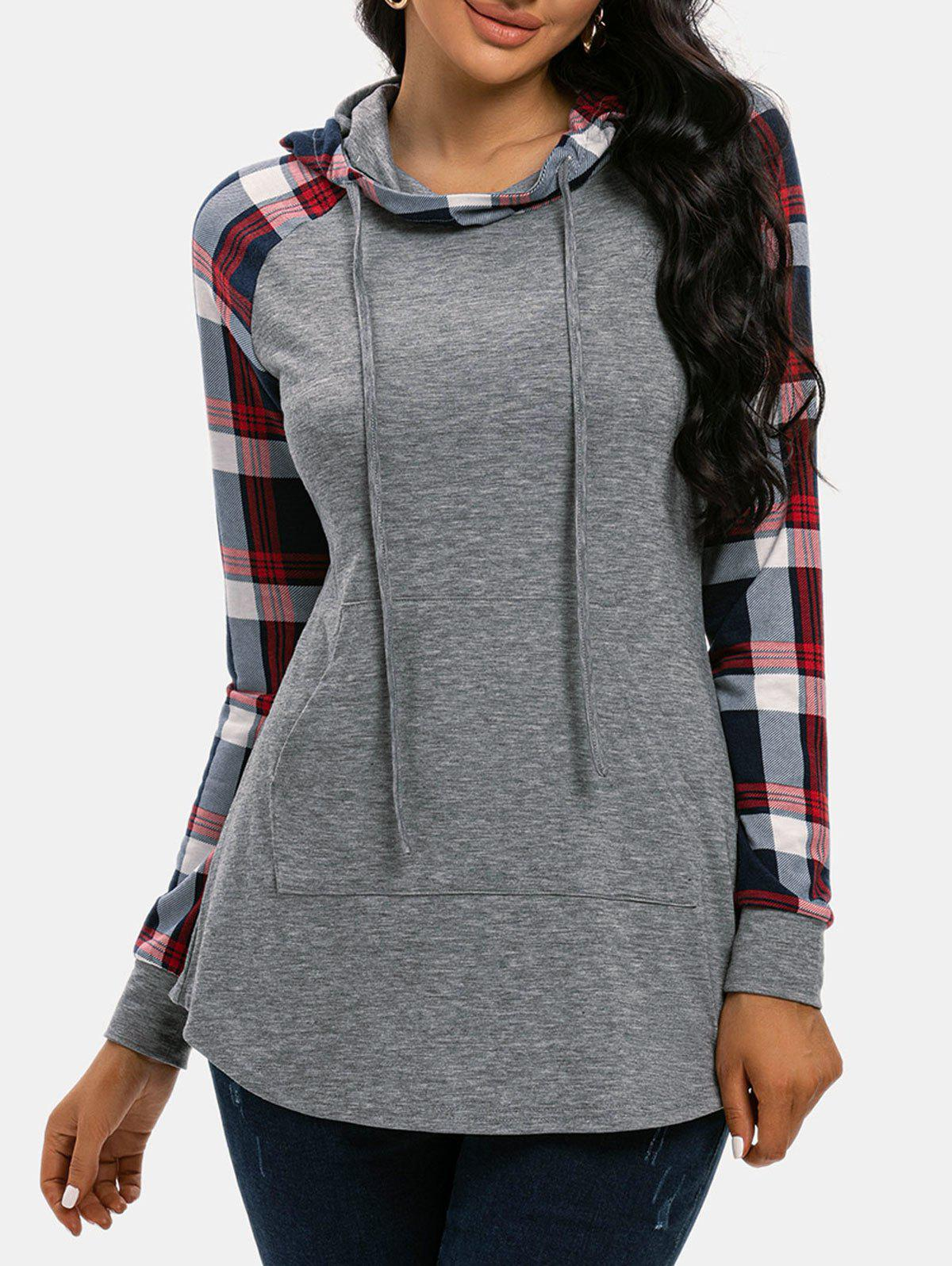 Store Plaid Print Panel Raglan Sleeve Pocket Hoodie
