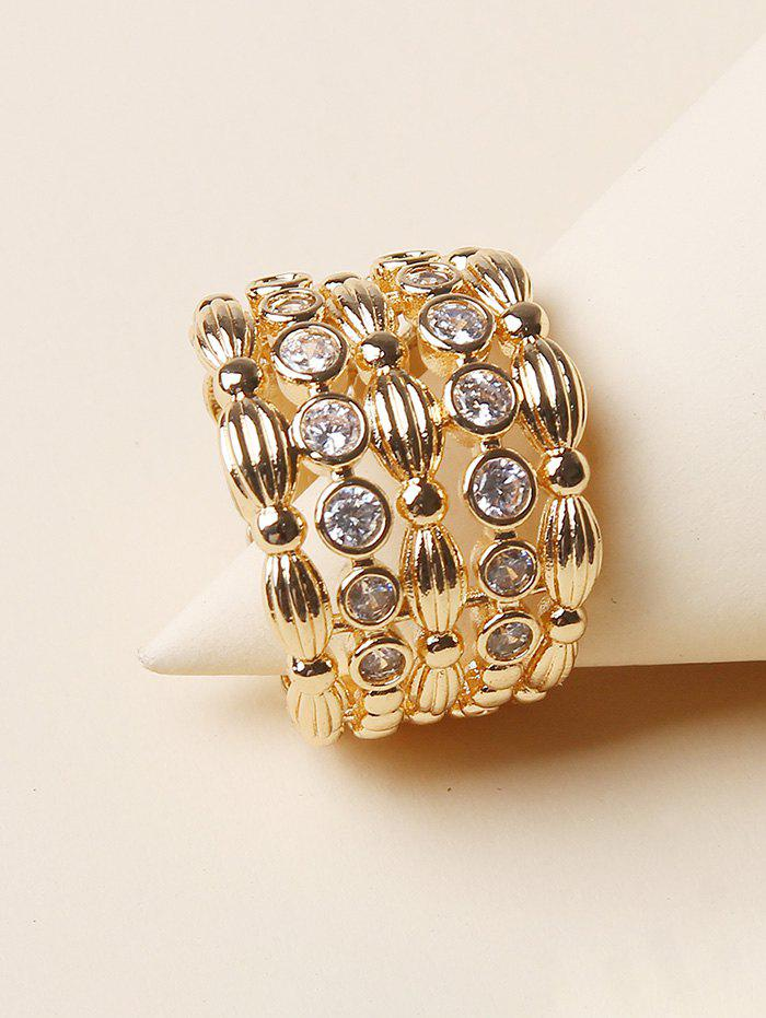 New Rhinestone Hollow Out Wide Band Ring