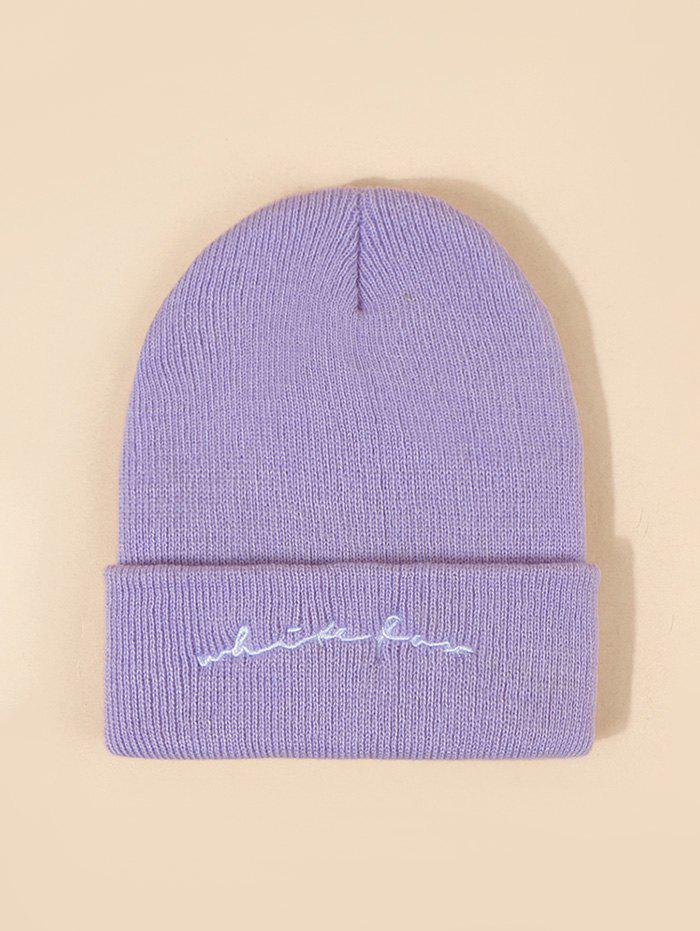 Trendy Letters Pattern Embroidery Knitted Hat