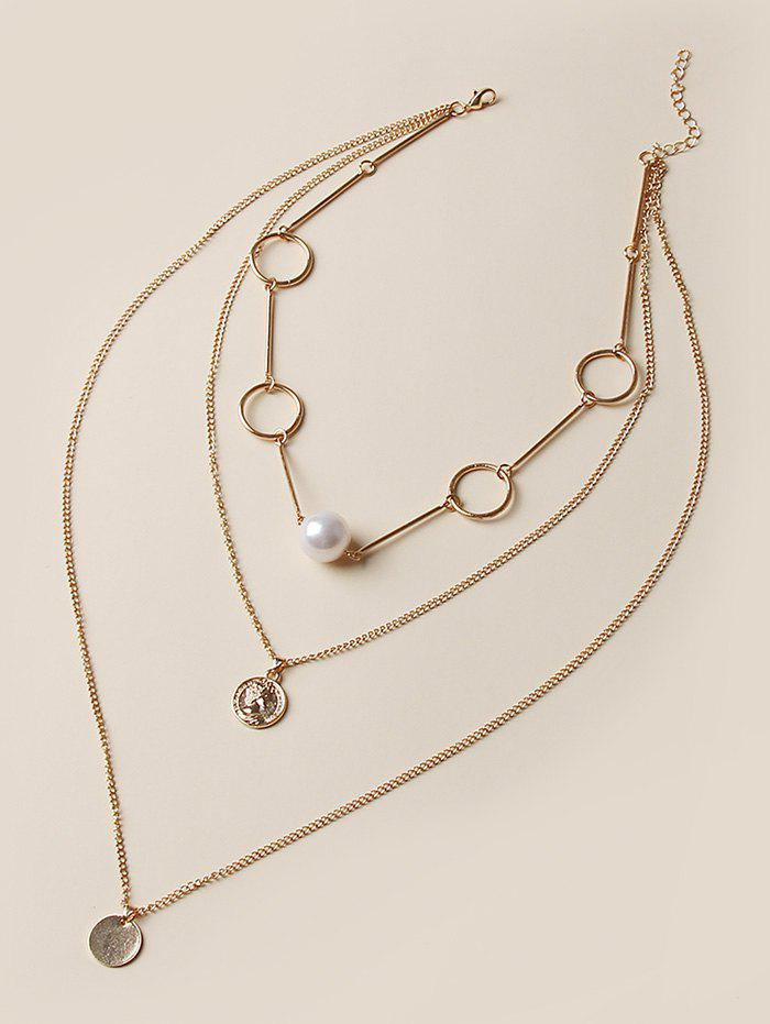 Outfits Coin Pendant Faux Pearl Layered Necklace