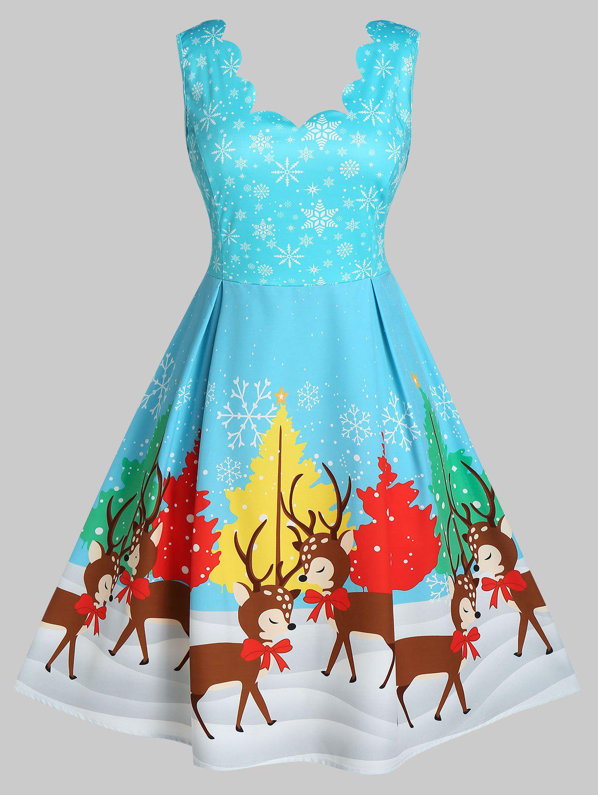 Affordable Plus Size Christmas Snowflake Elk Scalloped A Line Dress