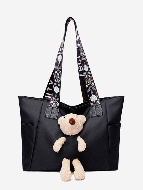 Cheap Plush Bear Floral Print Strap Tote Bag