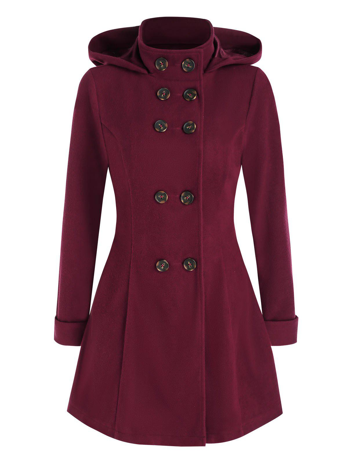 Shops Hooded Double Breasted Wool Coat