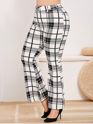 Plus Size Plaid Zip Fly Bell Bottom Pants