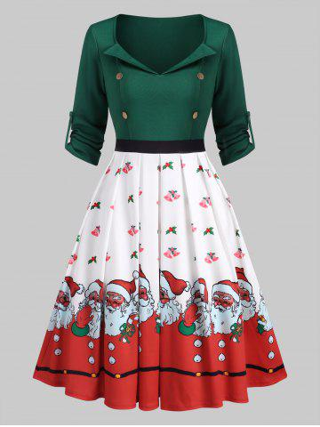 Sweetheart Neck Christmas Santa Claus Bell Pleated Dress