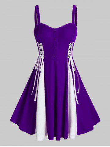 Plus Size Patchwork Velour Fit And Flare Dress