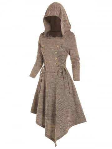 Lace Up Mock Button Hooded Asymmetrical Dress