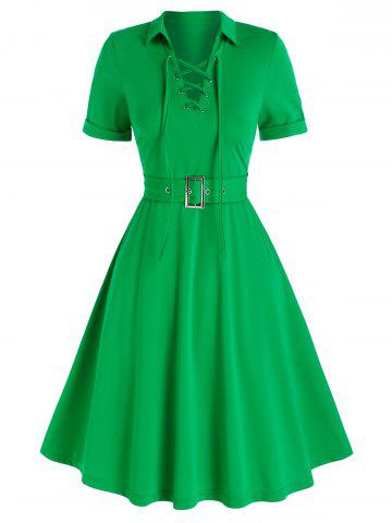 Lace-up Front Belted Casual Dress