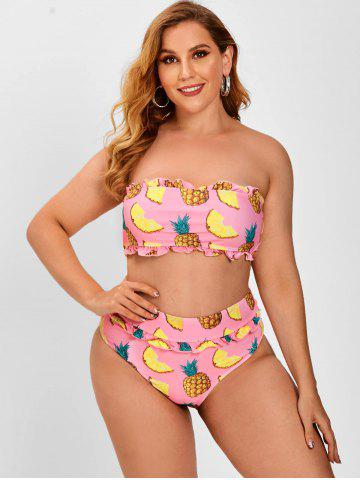 Frilled Pineapple Print Plus Size Bandeau Bikini Swimwear
