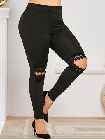 Plus Size Lace Panel Cut Out Skinny Pants